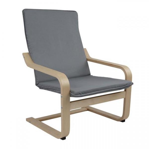 Πολυθρόνα με εύκαμπτο ξύλινο σκελετό σε φυσικό χρώμα